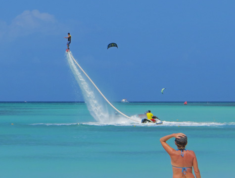 Flyboarding on the Island of Aruba